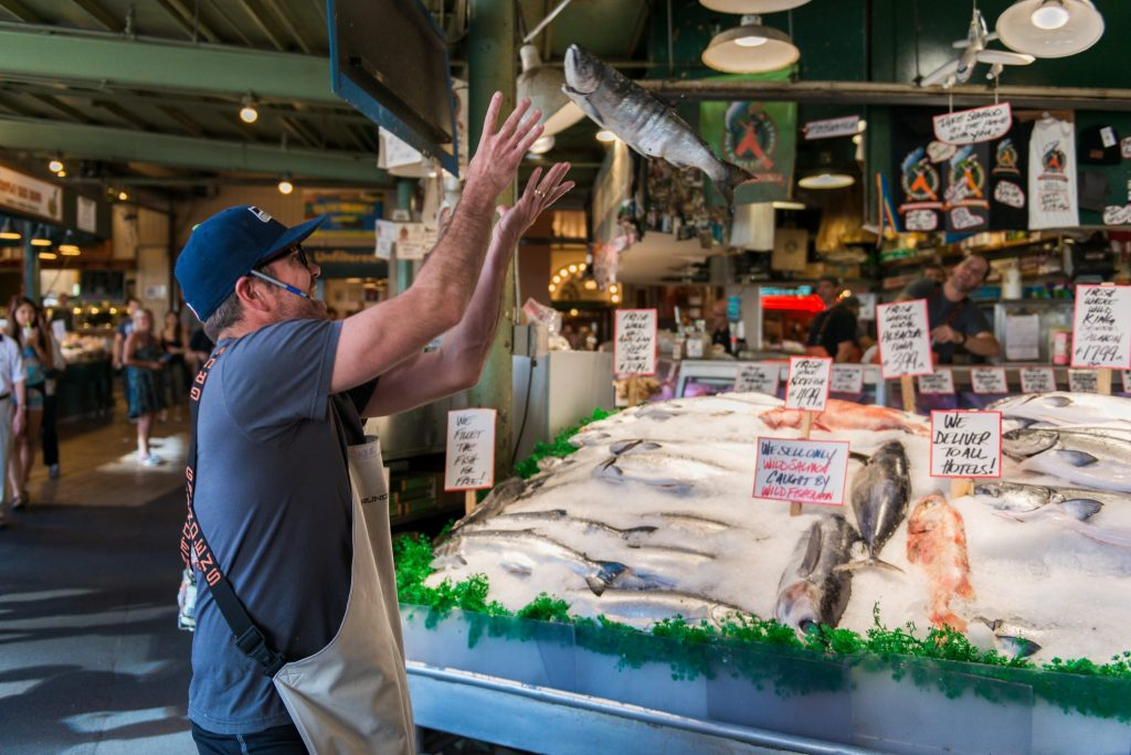 Pike's Place Market in Seattle, Washington - and the famous fish throwers.