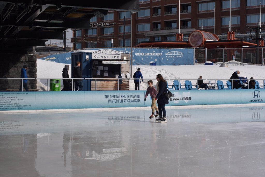 You can ice skate, play hockey, use the bumper cars, or try curling at the ice rink at Canalside in downtown Buffalo, New York. Close to the Buffalo Sabres arena and Harbor Center. #newyork #buffalo #buffalony #buffalonewyork #buffalosabres #sabres #canalside #buffalocanalside #downtownbuffalo #downtownbuffalony #downtownbuffalonewyork #canalsidebuffalo #iceskating #iceskatingbuffalo #icerinkbuffalo #icerink #thingstodoinbuffalo #thingstodoinbuffalony #thingstodoinbuffalonewyork #winter #winteractivities #wintersports